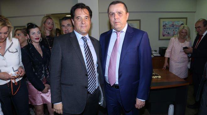 Ο Νίκος Καραμανλής με τον αντιπρόεδρο της ΝΔ, Άδωνι Γεωργιάδη