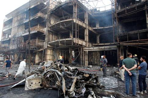 Κατεστραμμένα κτήρια μετά την επίθεση στην Καράντα   (Φωτογραφία  Reuters