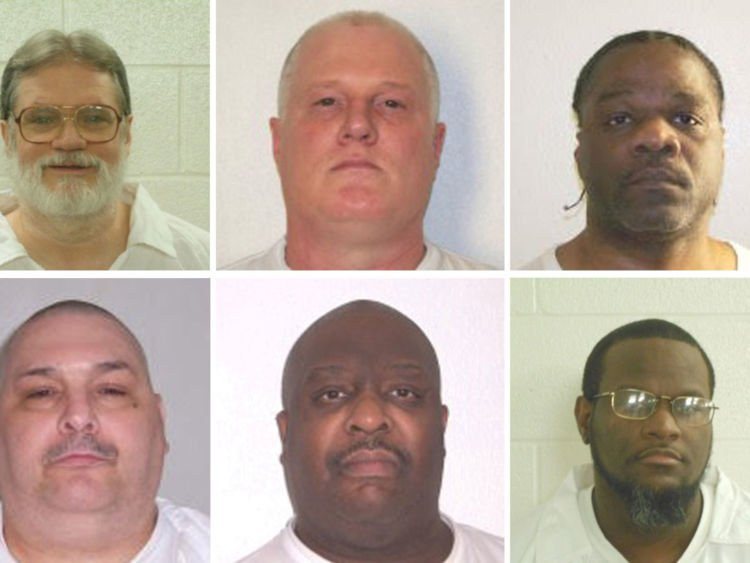 FILE PHOTO - Inmates Bruce Ward(top row L to R), Don Davis, Ledell Lee, Stacy Johnson, Jack Jones (bottom row L to R), Marcel Williams, Kenneth Williams and Jason Mcgehee  are shown in these booking photo provided March 21, 2017.   Courtesy Arkansas Department of Corrections/Handout via REUTERS  ATTENTION EDITORS - THIS IMAGE WAS PROVIDED BY A THIRD PARTY. EDITORIAL USE ONLY. - RTX35A6I